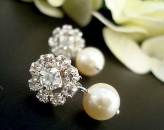 Pearl Rhinestone Earrings,Bridal Rhinestone Earrings, Ivory Swarovski Pearls,Bridal Stud Earrings,Bridal Pearl Earrings,Silver, Pearl,DEDE