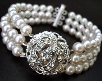 Ivory swarovski Pearl bracelet Bridal Bracelet Bridal Rhinestone Bracelet vintage style Wedding Pearl Bracelet Bridal Bracelet ROSELANI
