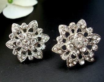 Bridal Stud Earrings,Bridal Wedding Rhinestone Earrings,Silver Stud,Flower Rhinestone Earrings, Silver, Post,Statement Bridal Earrings,MEGAN