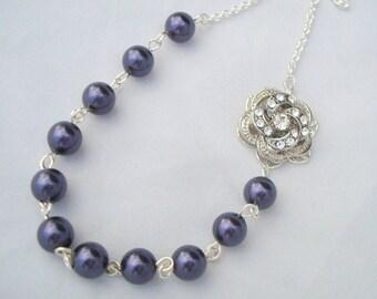 Pearl Necklace,Bridal Rhinestone Necklace,Purple Pearl,Purple Necklace,Rose Necklace,Bridal Pearl Necklace,Wedding Pearl Necklace,ROSELANI