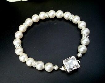 Bridal Pearl Bracelet,Ivory or White Swarovski Pearls,Rhinestone Pearl Bracelet,Wedding Pearl Bracelet, Cuff, Pearl, Bridal Jewelry, JOSELYN