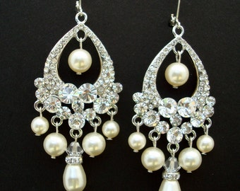 Pearl Bridal Earrings, Bridal Rhinestone Earrings, Ivory  Swarovski Pearls, Rhinestone Chandelier Earrings, Statement Bridal Earrings, KAT