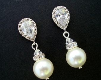 bridal earrings, Pearl wedding earrings, pearl rhinestone Earrings, Bridal stud Earrings, swarovski pearl Earrings, cubic zirconia, AUDREY