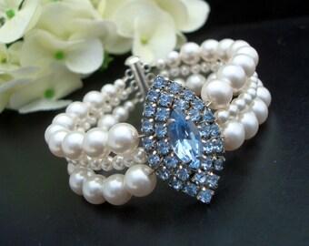 Pearl Bridal Bracelet, Vintage Wedding,Something Blue Bracelet,Swarovski Pearls, Statement Bridal Bracelet,Rhinestone Bridal Bracelet, DELIA