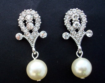 Ivory swarovski pearl Bridal Earrings Rhinestone Wedding Earrings bridal Chandeliers Earrings swarovski pearl and rhinestone earrings TRACY