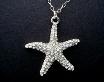 bridal starfish Necklace, Bridal rhinestone Necklace, Starfish Rhinestone Necklace, Destination Wedding, starfish necklace, ARIEL