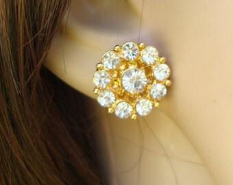 Bridal Jewerly, Bridal Rhinestone Earrings, Wedding Gold Earrings, Bridal Stud Earrings, Rhinestone Earrings,Gold Bridal Earrings,Stud,CLARA