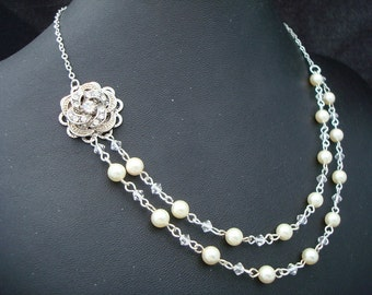 Pearl Necklace, Bridal Pearl Necklace, Bridal Rhinestone Necklace, Ivory Swarovski Pearls, Rose Rhinestone,Crystal Necklace, Pearl, ROSELANI