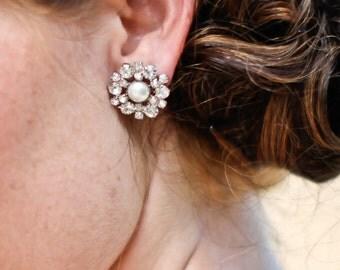 Bridal Earrings, pearl earrings, Rhinestone Wedding Earrings, stud bridal Earrings, swarovski pearl earrings, crystal stud earrings, EUGENIE