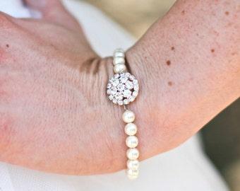 ivory swarovski pearl and crystal Bracelet Statement Bridal Bracelet Bridal Cuff Wedding Rhinestone Bracelet swarovski pearl BRITNEY