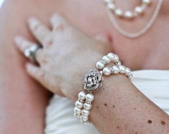 bridal bracelet pearl bracelet swarovski pearl Bracelet swarovski crystal bracelet Statement Bracelet Wedding Rhinestone Bracelet Roselani