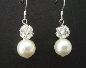 Pearl Wedding Bridal Earrings,Ivory or White Pearls,Sterling Silver Earrings,Classic Earrings,Pearl Rhinestone Earrings,Pearl,Bride,CLAIRE