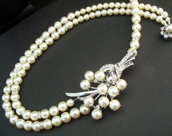Bridal Pearl Necklace, Pearl Rhinestone Necklace, Ivory Swarovski Pearls, Bridal Rhinestone Necklace,Statement Bridal Necklace,Brooch,KELSEY