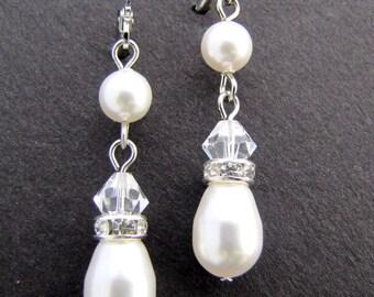 Pearl earrings, bridal pearl earrings, swarovski earrings, dangle earrings, Swarovski Pearls, Crystal Earrings, wedding Earrings, EMILY