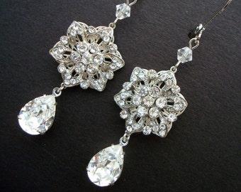 Vintage Style Wedding Bridal Earrings Swarovsky Crystal Silver Filigree Flower Rhinestone Bridal Wedding Chandelier Earrings,Crystal, MEGAN
