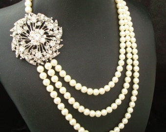 ivory swarovski Pearl Necklace Bridal statement necklace Pearl Rhinestone Wedding Necklace crystal Necklace Wedding Pearl Necklace PAIGE