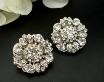 Bridal Stud Earrings Clip on earrings Statement crystal Bridal Earrings Rhinestone Stud Earrings Wedding Rhinestone Earrings COLLEEN