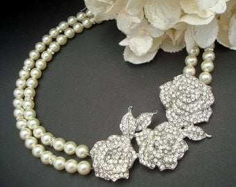 Pearl Necklace Bridal pearl necklace statement necklace Pearl Rhinestone Wedding Necklace crystal Necklace Wedding Pearl Necklace ROSIE