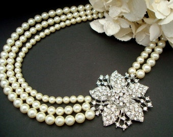 ivory swarovski Pearl Necklace Bridal statement necklace Pearl Rhinestone Wedding Necklace crystal Necklace Wedding Pearl Necklace  VIRGINIA
