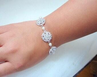 Bridal Pearl Braclet,Flower Rhinestones Bracelet,Wedding Pearl Cuff,Ivory Swarovski Pearls, Bridal Rhinestone Bracelet, Bridal Cuff,BRITNEY