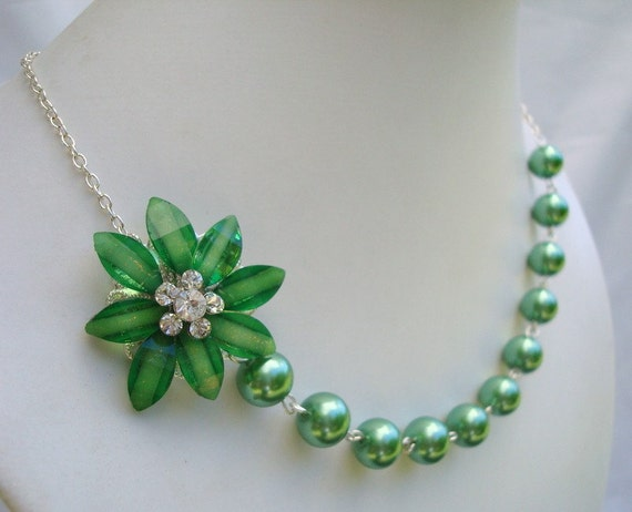 Reserved for Sarah, Bridal Necklace,Green Pearls, Flower Necklace, Bridesmaid, JASMINE