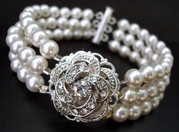 Bridal Bracelet,Bridal Rhinestone Bracelet,Ivory or White Pearls,Rose Bracelet,Wedding Pearl Bracelet,Bridal Pearl Bracelet,Rose,ROSELANI