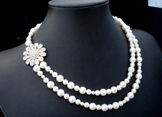 Pearl Bridal Necklace,White or Ivory Pearls,Pearl Rhinestone Necklace,Bridal Pearl Rhinestone Necklace,Statement Bridal Necklace,Pearl,EVA