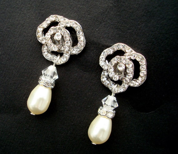 Reserved for Cameron, Bridal Rhinestone Earrings, Ivory Swarovski Pearls, Rose  Rhinestone, CLELIA