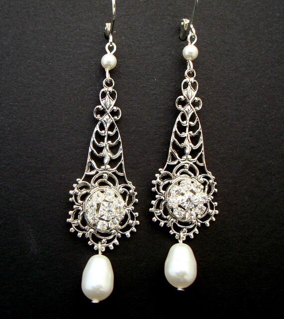 Bridal Earrings,Pearl Earrings,Ivory or White Pearl,Bridal Rhinestone Earrings,Bridal Pearl Earrings,Pearl Rhinestone Earrings, ELEONORE