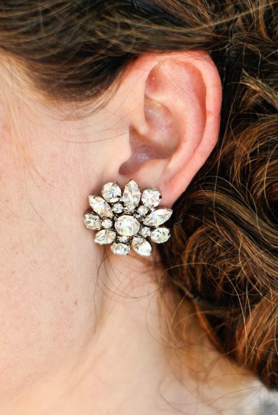 Wedding Bridal Earrings,Vintage Style Earrings,Rhinestone Bridal Earrings,Bridal Stud Earrings,Statement Bridal Earrings,Stud,Bride,SAVANNAH