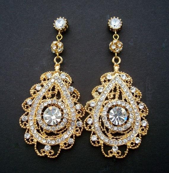 Gold Bridal  Rhinestone Earrings, Chandelier Earrings, Stud Gold Earrings, MAEVE