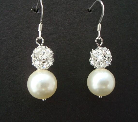 Pearl Wedding Bridal Earrings Ivory swarovski Pearls Sterling Silver Earrings Classic Earrings Pearl Rhinestone Earrings dangle Pearl CLAIRE