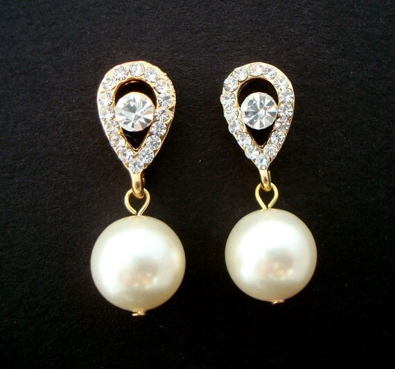 Reserved for Valerie, Priority Shipping, Pearl Earrings, Bridal Earrings, Ivory Swarovski Pearls, Rhinestone Earrings, CLAIR