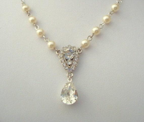 Pearl Necklace,Bridal Wedding Rhinestone Necklace,Ivory Pearls,Bridal Pearl Necklace,Swarovski Crystal,Pearl Rhinestone Necklace,Pearl,EMMA