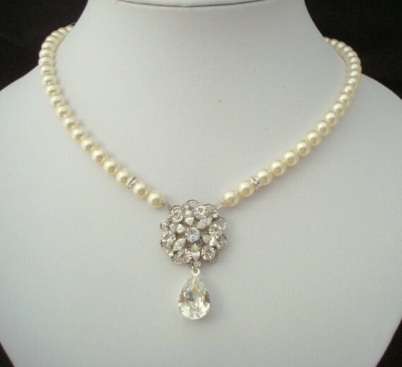 Bridal Pearl Necklace, Ivory Swarovski Pearls, Bridal Rhinestone Necklace, Swarovski Teardrop Crystal, Wedding Pearl Necklace, ALEXANDRA