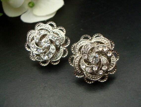 Bridal Earrings, Victorian Style, Rose Rhinestone, Bridal Stud Earrings, Silver or Gold Earrings, Wedding Rhinestone Earrings,Stud,ROSELANI