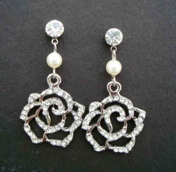 Reserved for Christina Pearl Bridal Earrings, Ivory Swarovski Pearls, Rhinestone Earrings, Rose Rhinestone, ROZA