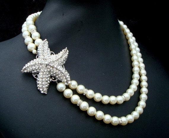 Ivory swarovski Pearl necklace bridal Starfish Necklace destination Wedding rhinestone wedding necklace statement bridal necklace ARIEL