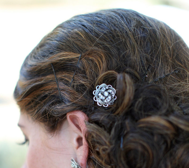 Victorian Style Wedding Hair: Bridal Hair Pin Rhinestone Rose Victorian Style Wedding