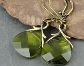 Olive Green Earrings Vintage Style Antique Brass Jewelry Olivine Lime Chartreuse Swarovski Crystal Dangle Earrings Briolette Beaded Jewelry