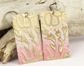 Pink and Peach Earrings Floral Earrings Seaweed Embossed Brass Sweetheart Shabby Chic Distress Jewelry