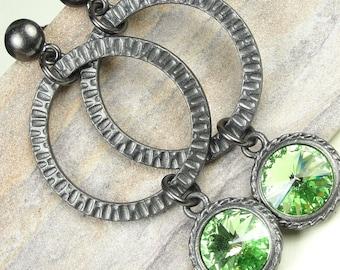 Light Green Statement Earrings Green Peridot Jewelry Gunmetal Earrings Tall Earrings Textured Metal Spring Green