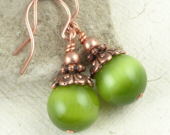 Copper Earrings Lime Green Jewelry Antique Copper Jewelry Chartreuse Apple Green Cats Eye Earrings - Beaded Jewelry Avocado Olive Green