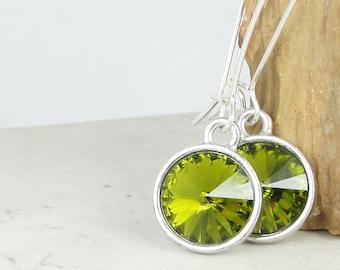 Olive Green Earrings Sterling Silver Earrings Green Earrings Olivine Green Beaded Jewelry Lime Swarovski Crystal