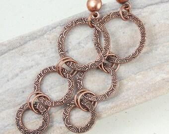Copper Earrings Tall Statement Earrings - Antique Copper Jewelry - Textured Metal Long Earrings - Bohemian Jewelry - Post Earrings