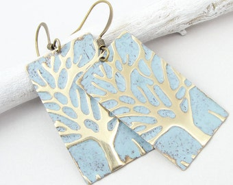 Distressed Tree Jewelry Light Blue Winter Tree Earrings Embossed Brass Weathered Vintage Style Icy Ice Blue Woodland Shabby Cottage Chic
