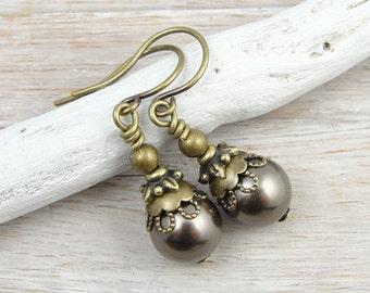 Pearl Earrings Beaded Jewelry Custom Bridesmaid Jewelry Swarovski Pearl Earrings Brown Chocolate