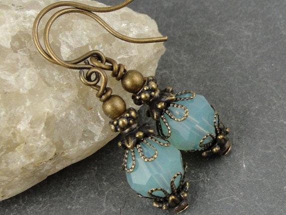 "Beaded Earrings Summer Jewelry Sea Green Antique Brass Vintage Style Swarovski Crystal Earrings Pacific Opal Blue ""Rappahannock Autumn"""