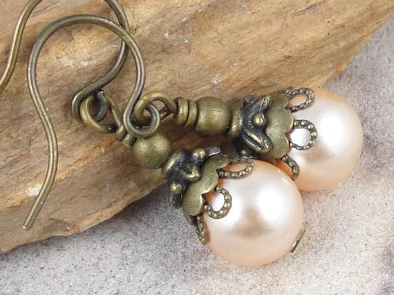 Bridesmaid Jewelry - Pearl Earrings - Peach Jewelry - Vintage Style Vintage Inspired Antique Brass Pearl Drop Earrings