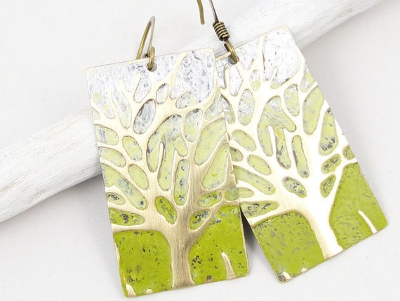 Tree Jewelry Rustic Woodland Antique Brass Earrings Vintage Style Jewelry Avocado Olive Chartreuse Ombre Winter Tree Earrings